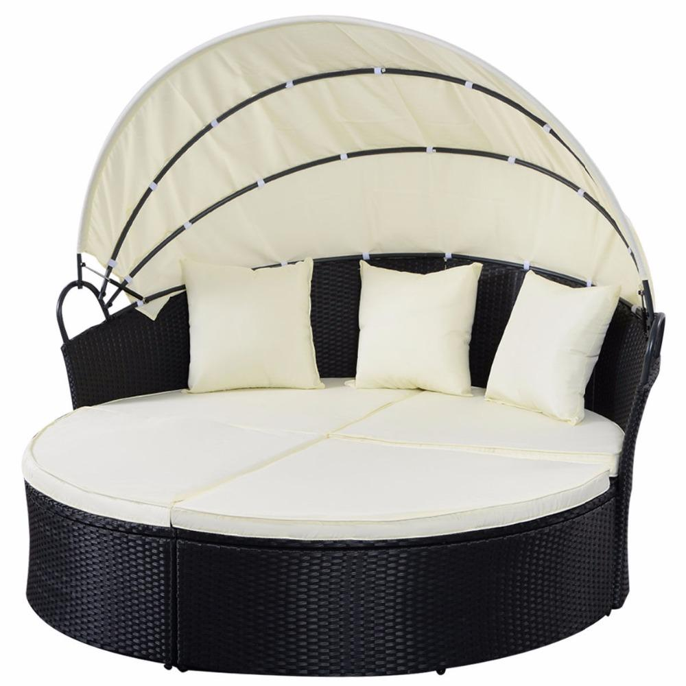 Black Outdoor Wicker Rattan Patio Daybed