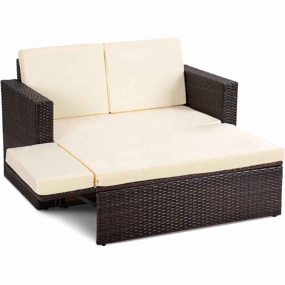 2 Piece Daybed Rattan Love Seat Ottoman Patio Furniture Set