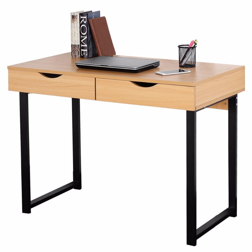 Modern Black & Wood Computer Desk