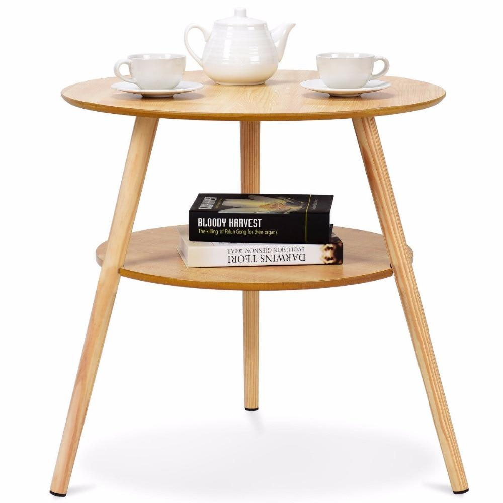 2-Tier Wood Round End Coffee Table