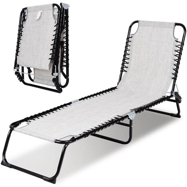 Foldable Patio Camping Cot Chaise Lounge Chair