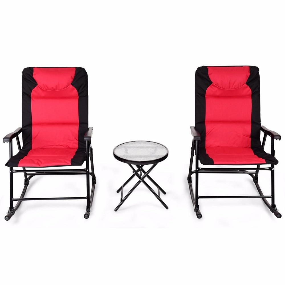 3 PCS Outdoor Patio  Bistro Folding Rocking Chair Table Set