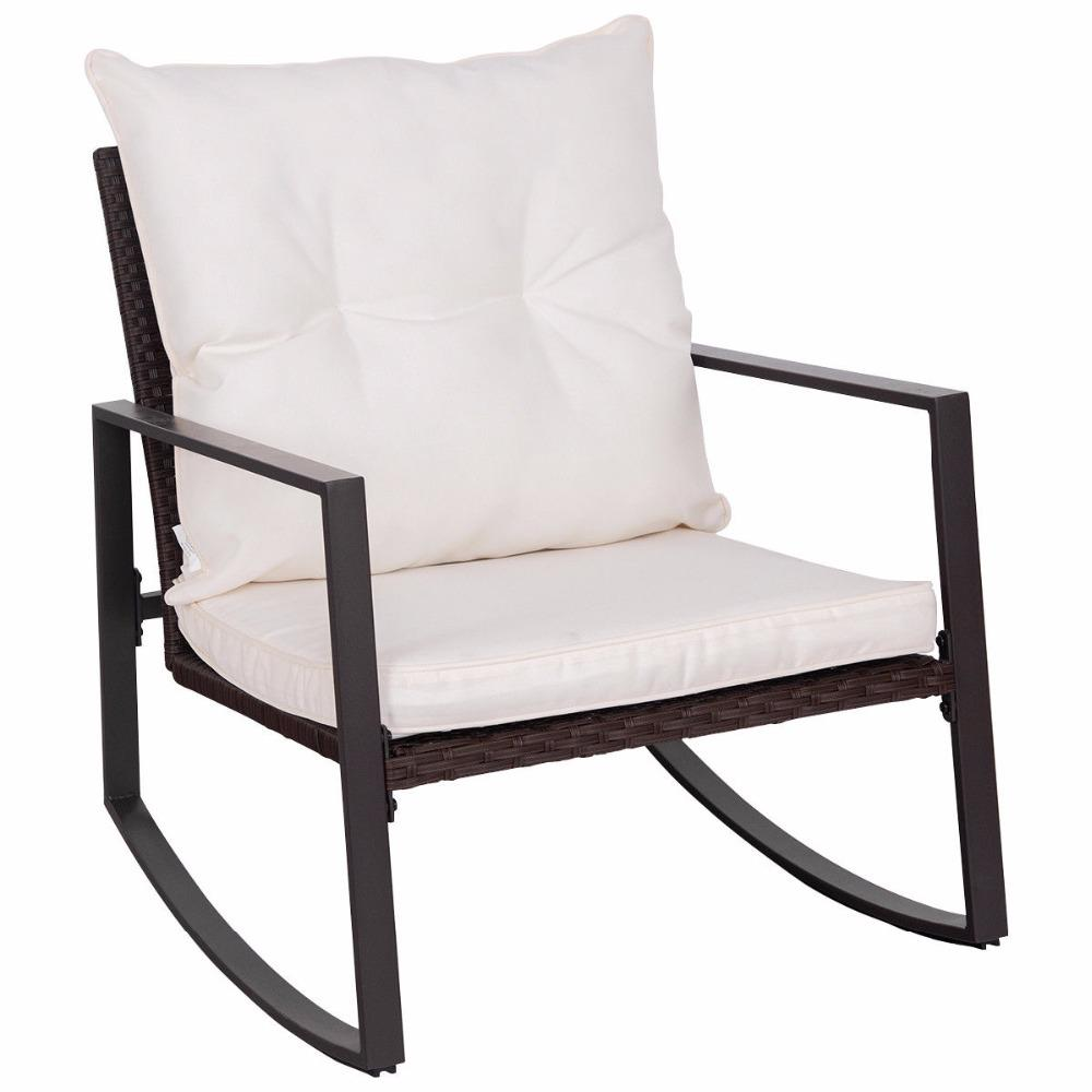 3 Piece Outdoor Bistro Rattan Wicker Rocking Chair Patio Set