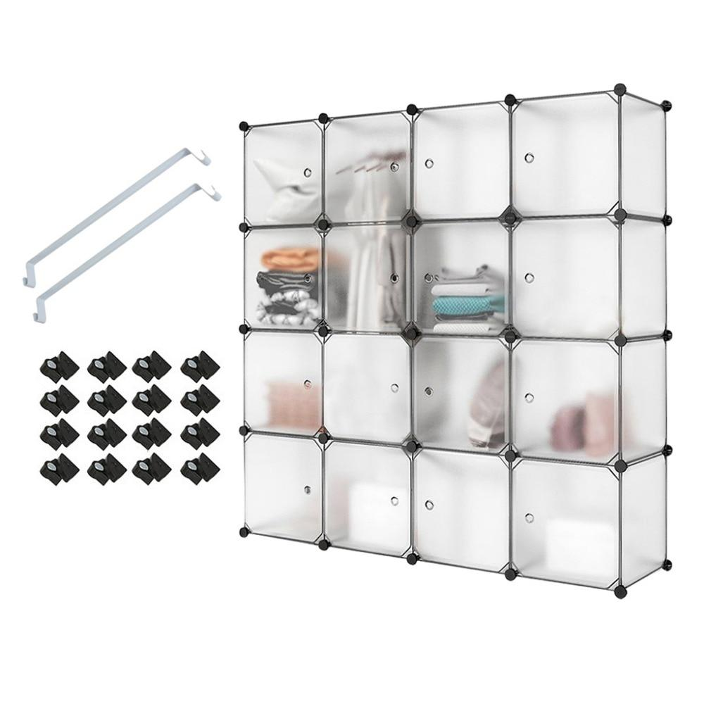 16 Cube White Translucent Plastic Wardrobe Closet Drawer Unit