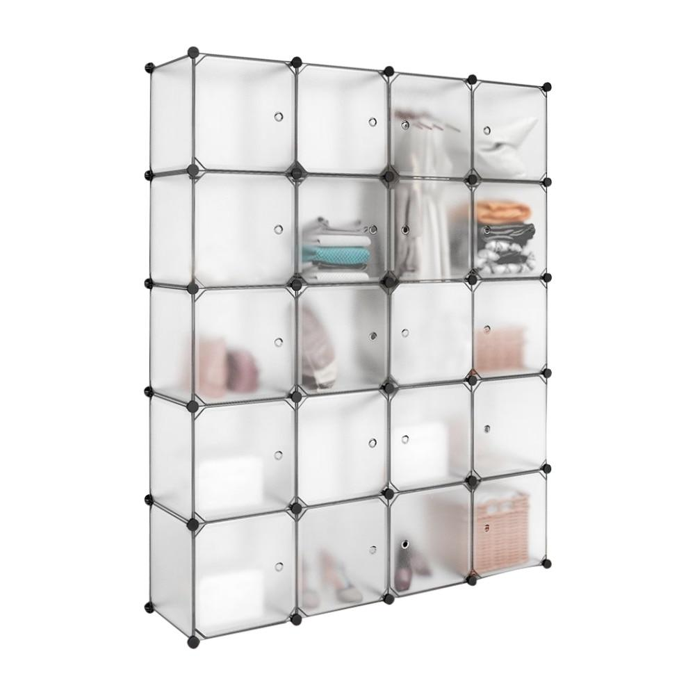 20 Cube White Translucent Plastic Wardrobe Closet Drawer Unit