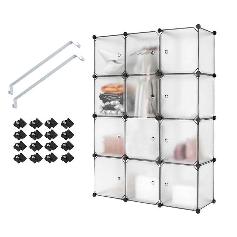 12 Cube White Translucent Plastic Wardrobe Closet Drawer Unit