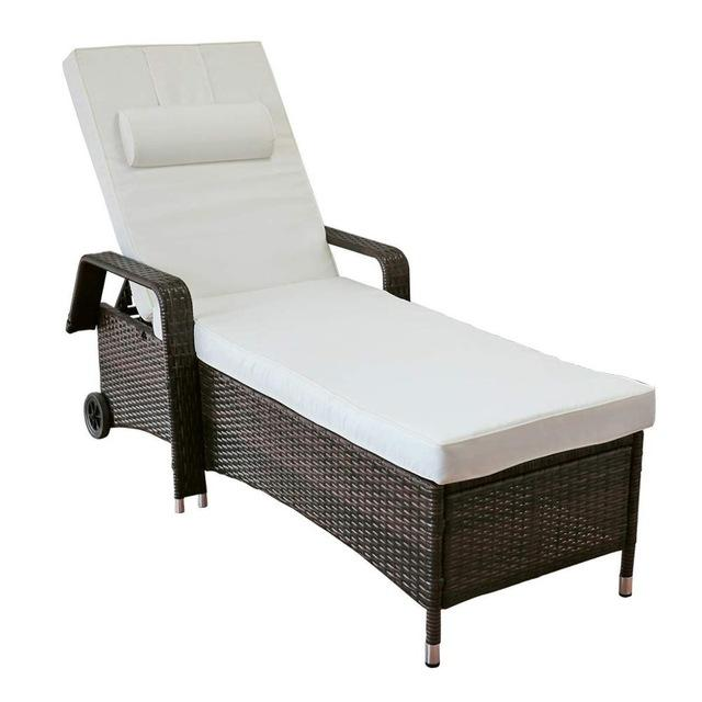 All-Weather Adjustable Outdoor Rattan Lounge Chaise Recliner Chair