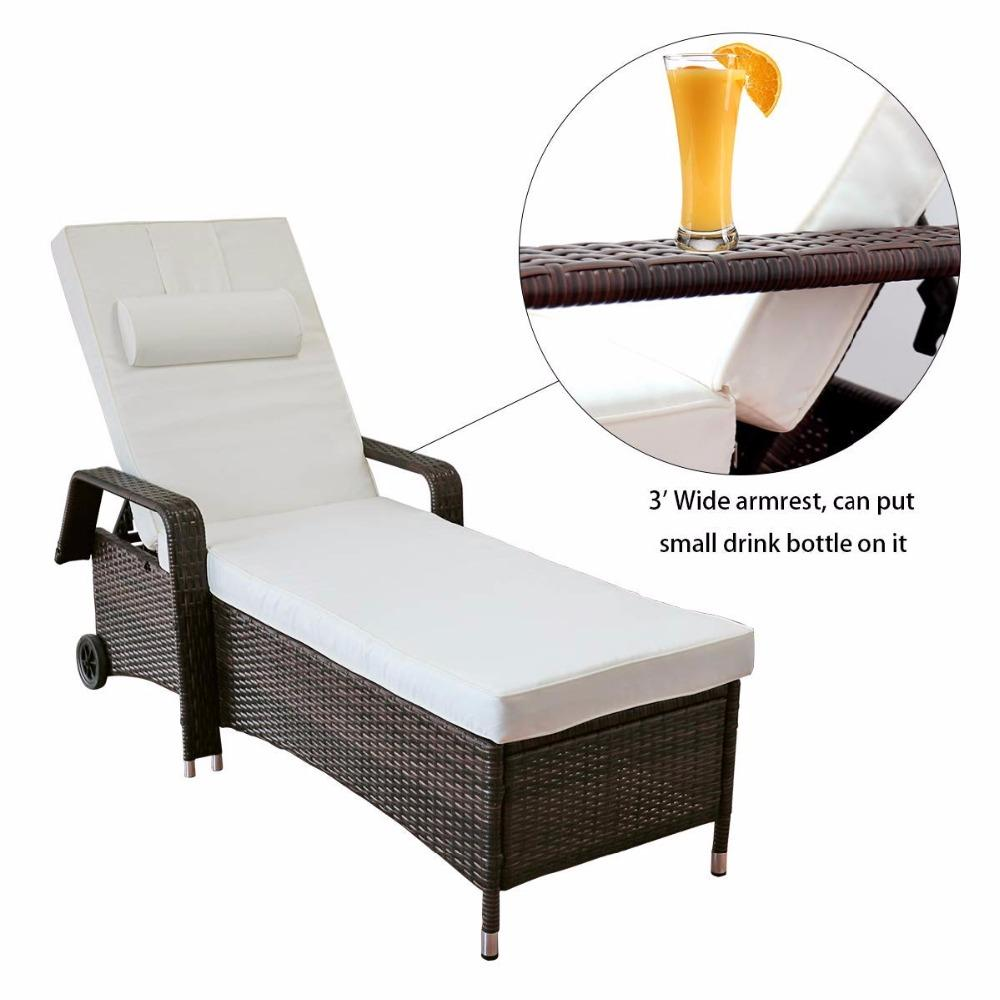 All-Weather Adjustable Outdoor Rattan Lounge Chaise Recliner Chair (2 Piece)