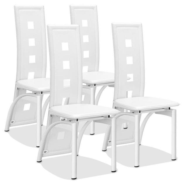 4 PVC Leather & Steal Dining Chairs Set