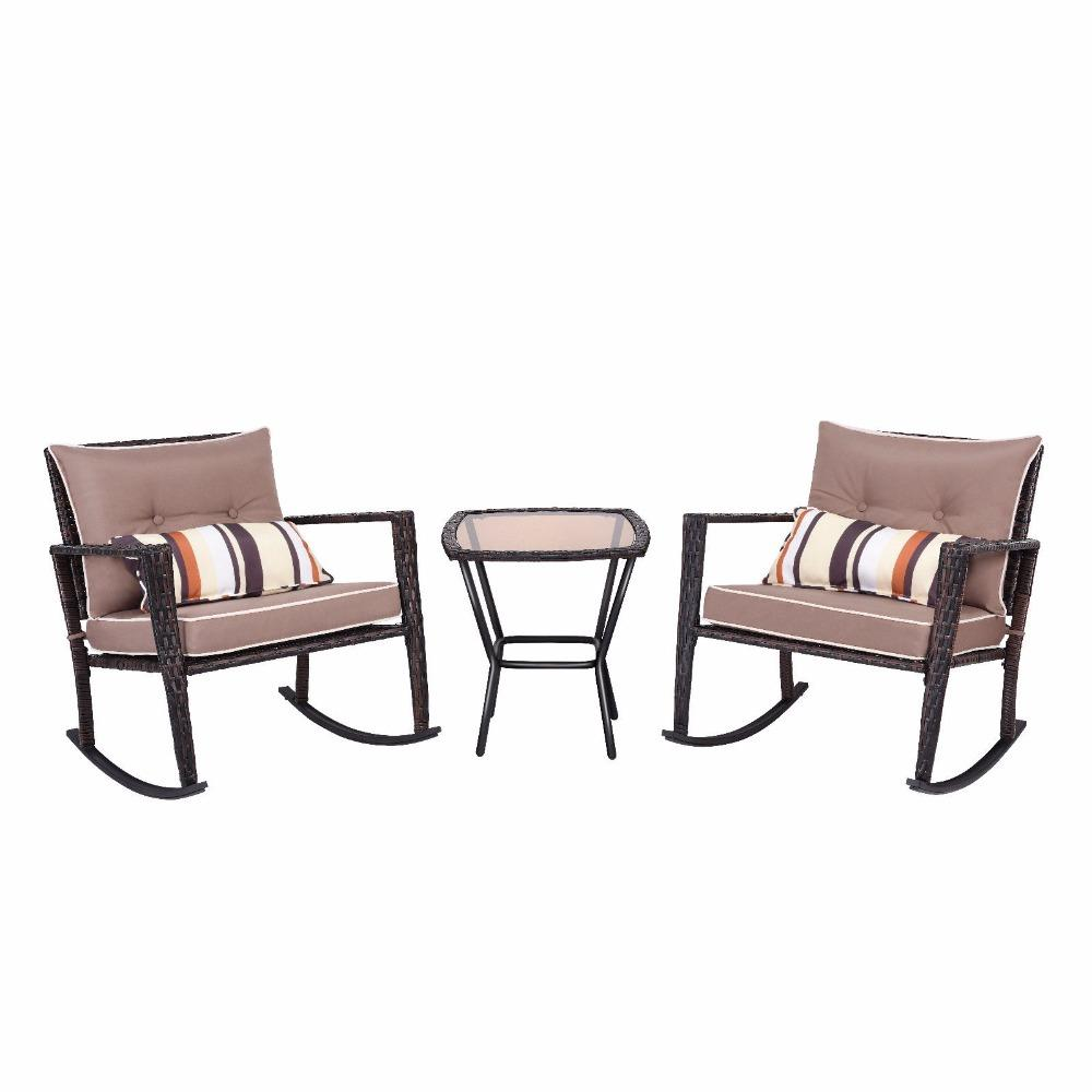 3 Piece Rattan Wicker Patio Furniture Set