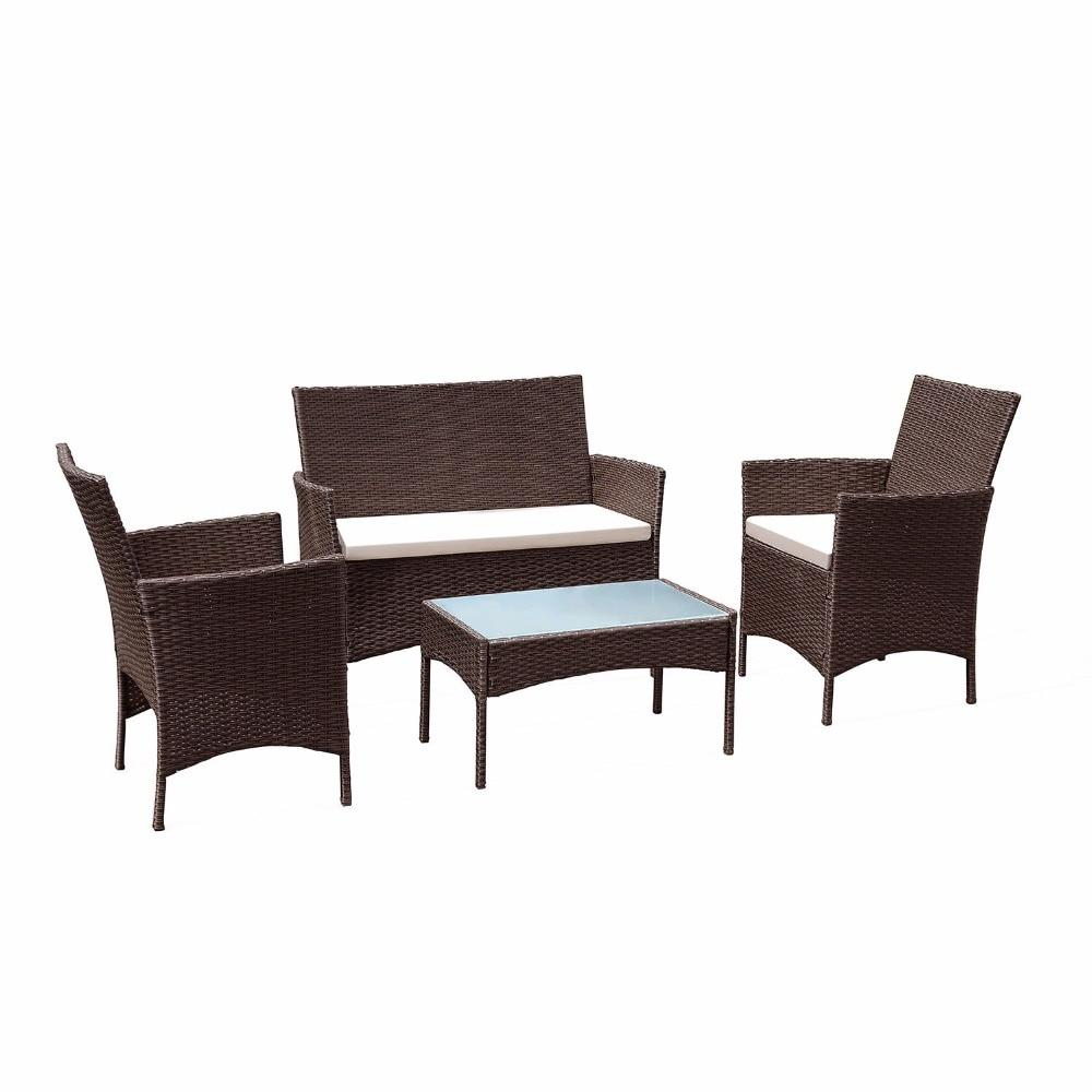 4 PC Outdoor Patio Rattan Wicker Chair Sofa Table Set