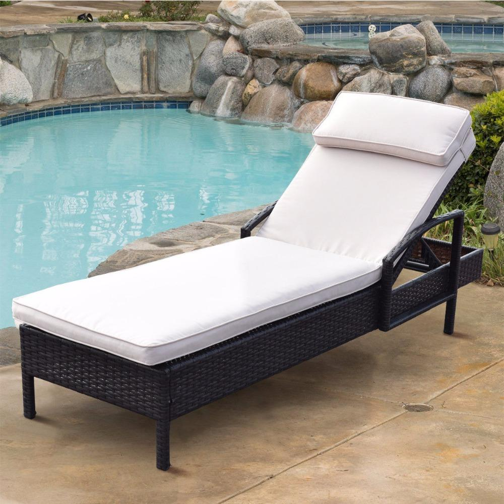 Brown Outdoor Wicker Rattan Chaise Lounge Chair
