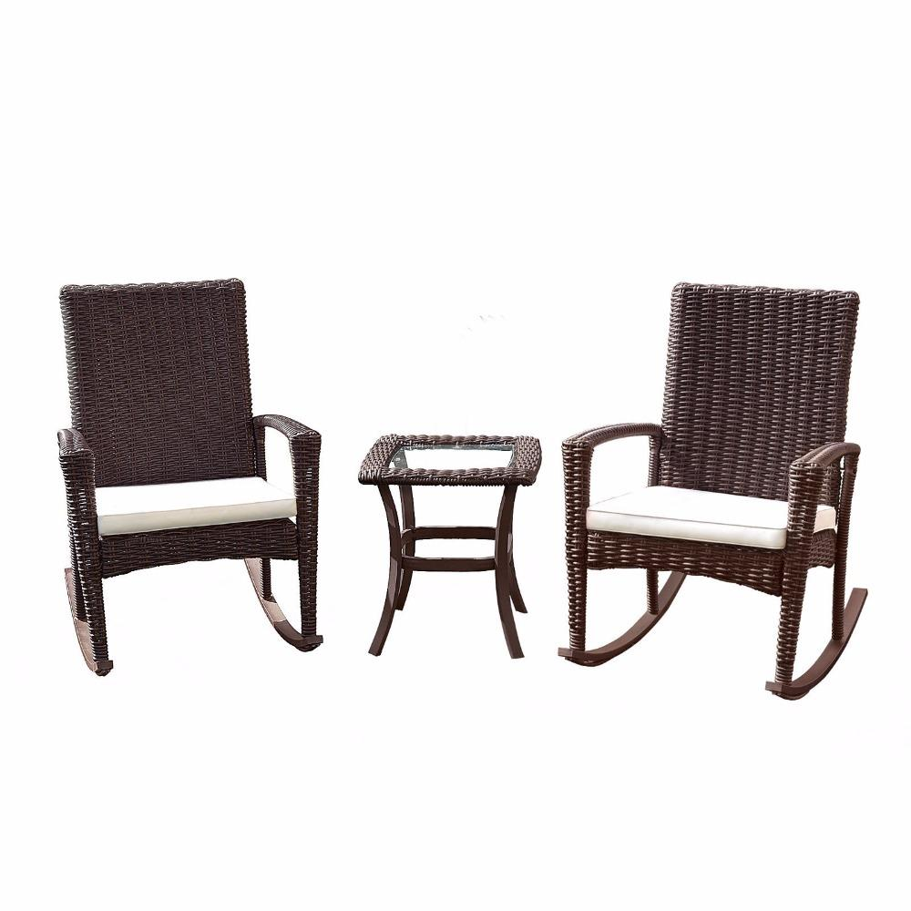 3 Piece Rattan Wicker Coffee Table & Rocking Chair Patio Set