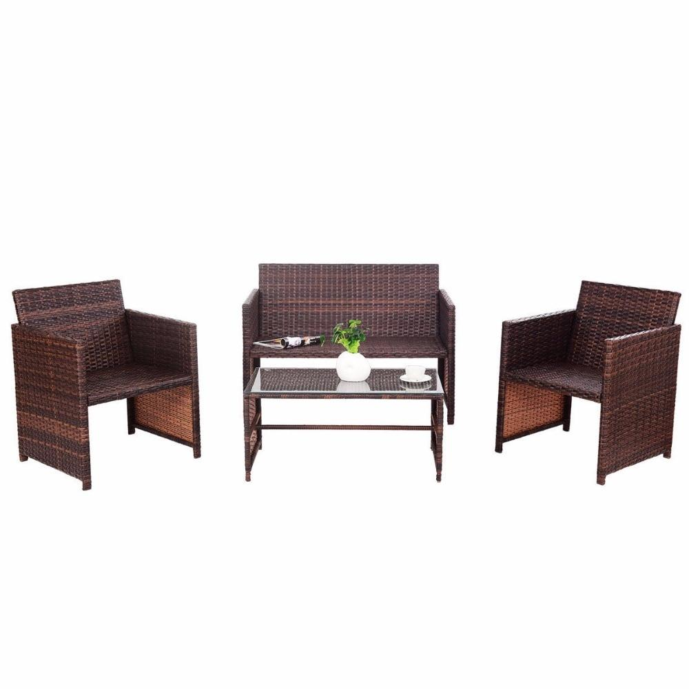4 PC Rattan Patio Furniture Set