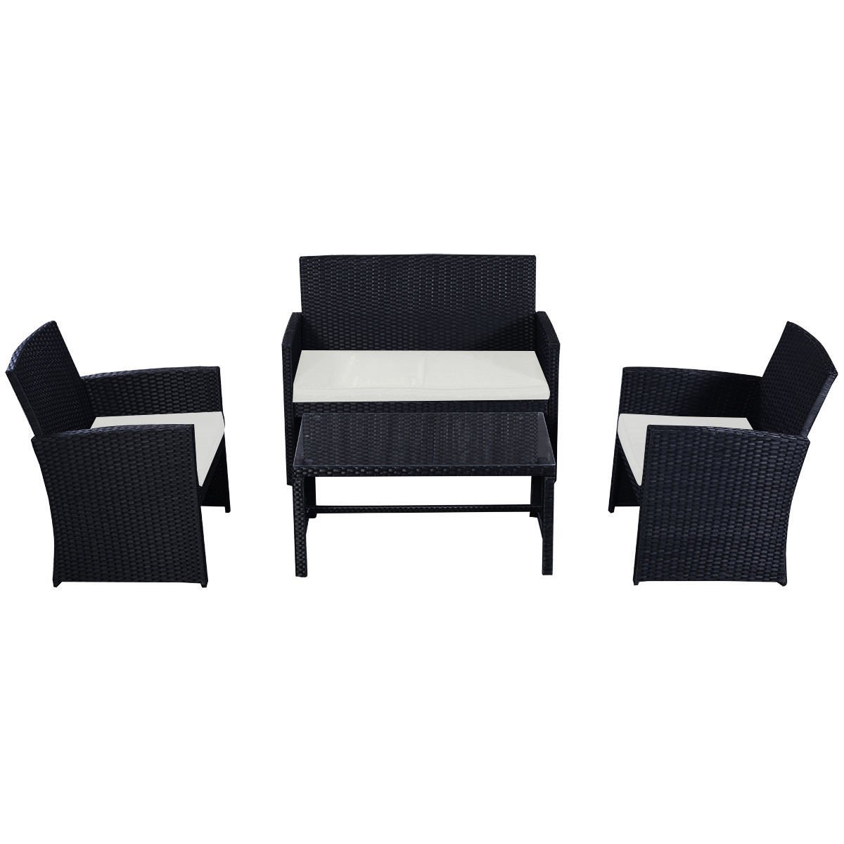 4 Piece Black Wicker Rattan Patio Set