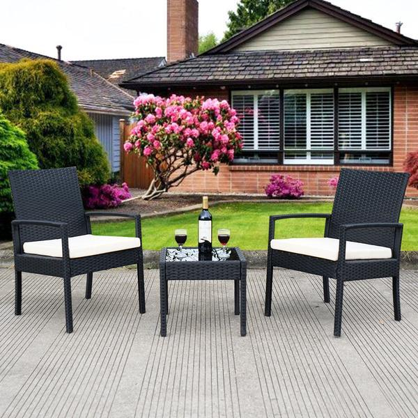 3 Piece Outdoor Rattan Patio Furniture Set