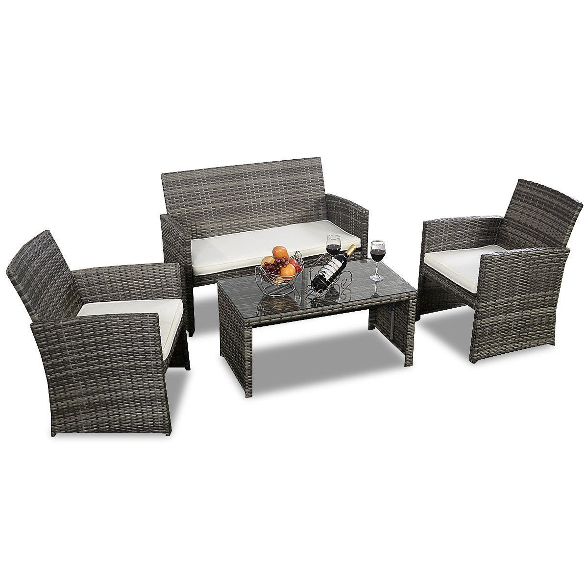 4 Piece Gray Rattan Wicker Patio Set