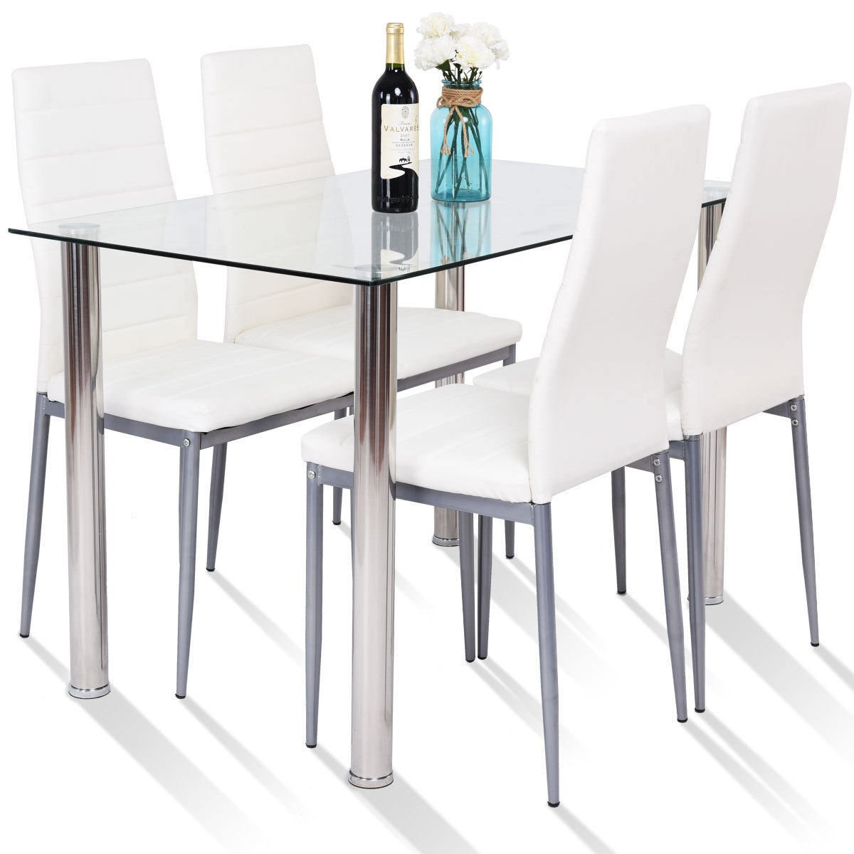 5 Piece Glass & Metal Dining Set