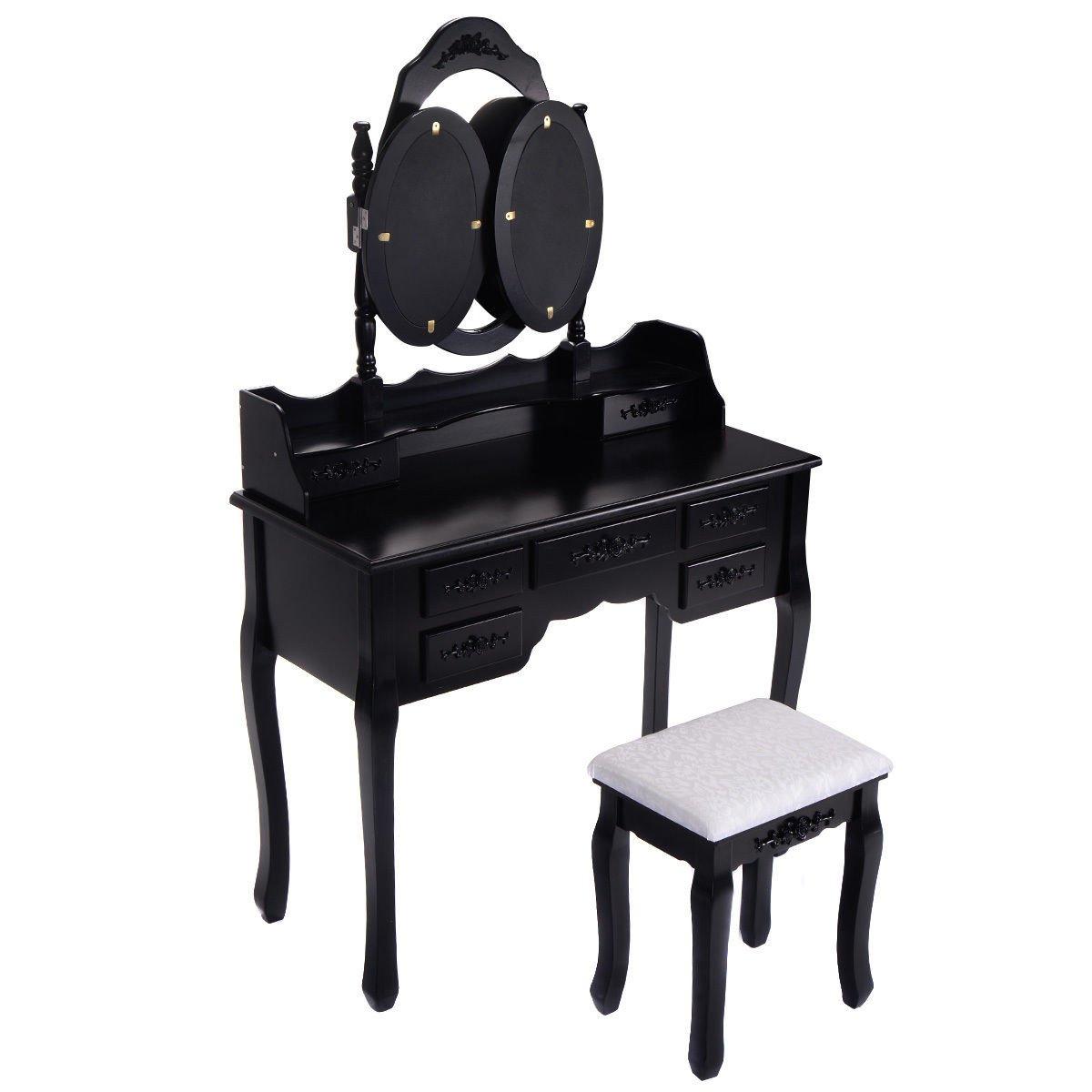 Black Tri-Folding Oval Mirror Wood Vanity Table Set