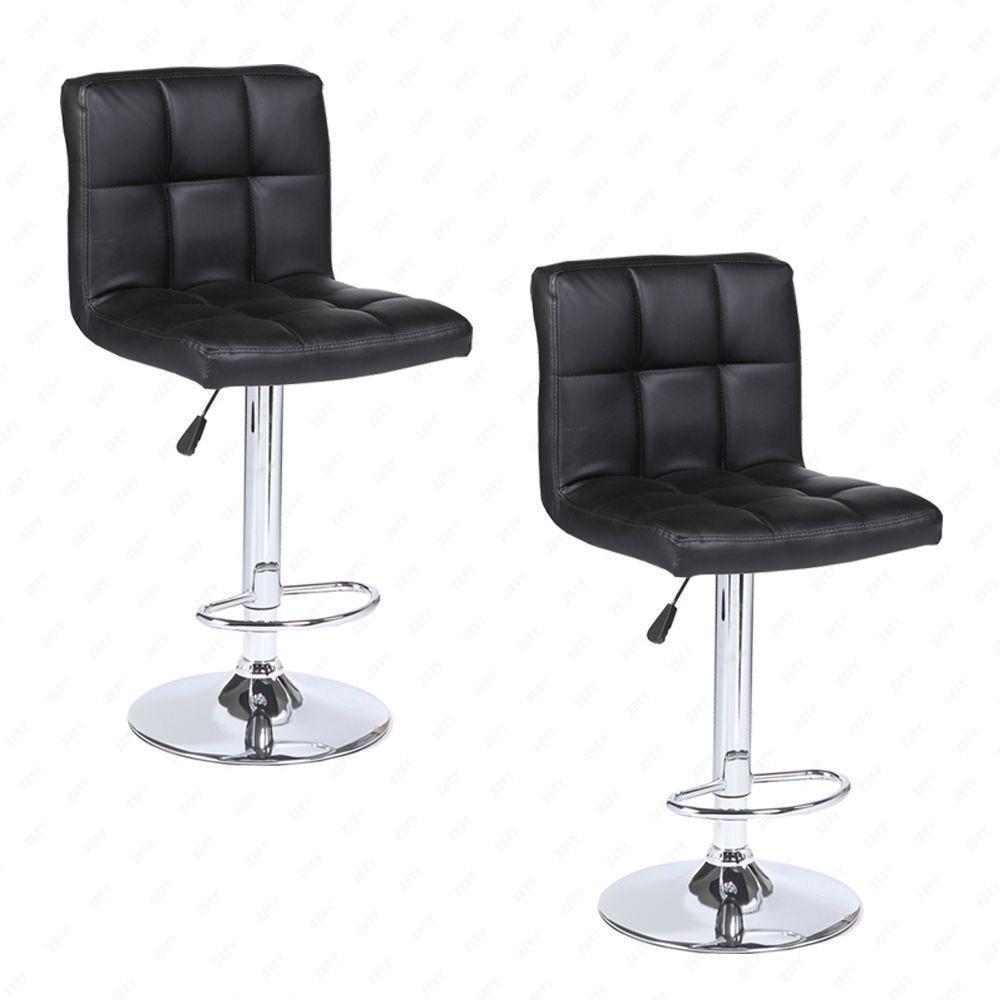 2 Piece Leather Seat Swivel Bar Stools