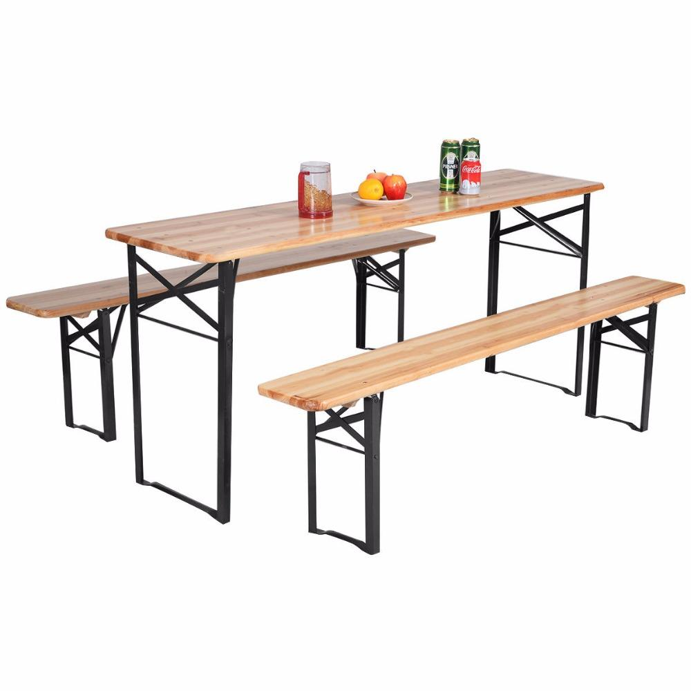 3 Piece Outdoor Folding Wood Picnic Table