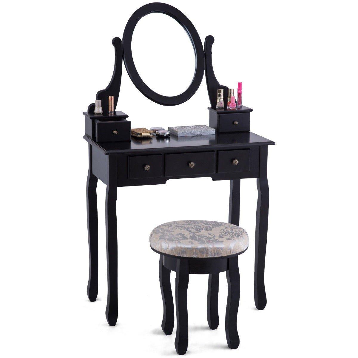 Cushioned Stool Vanity Table Set
