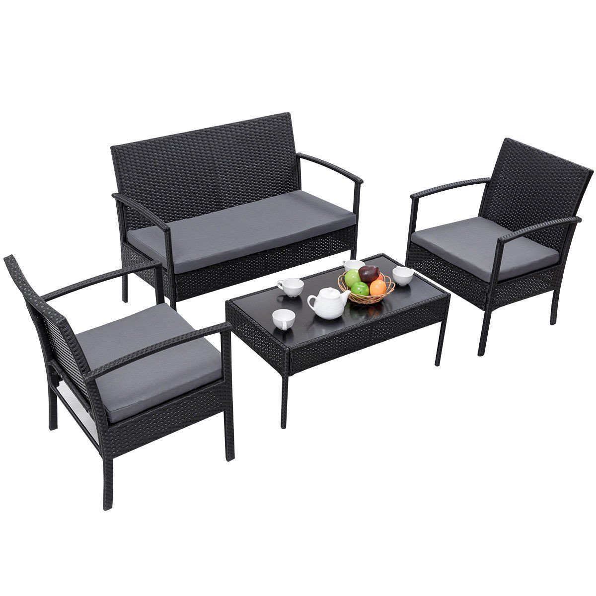 4 Piece Outdoor Rattan Wicker Patio Set
