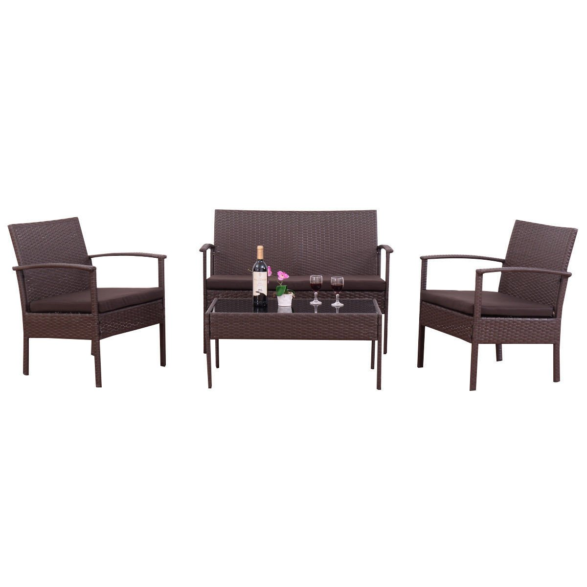4 Piece Brown Rattan Wicker Patio Set