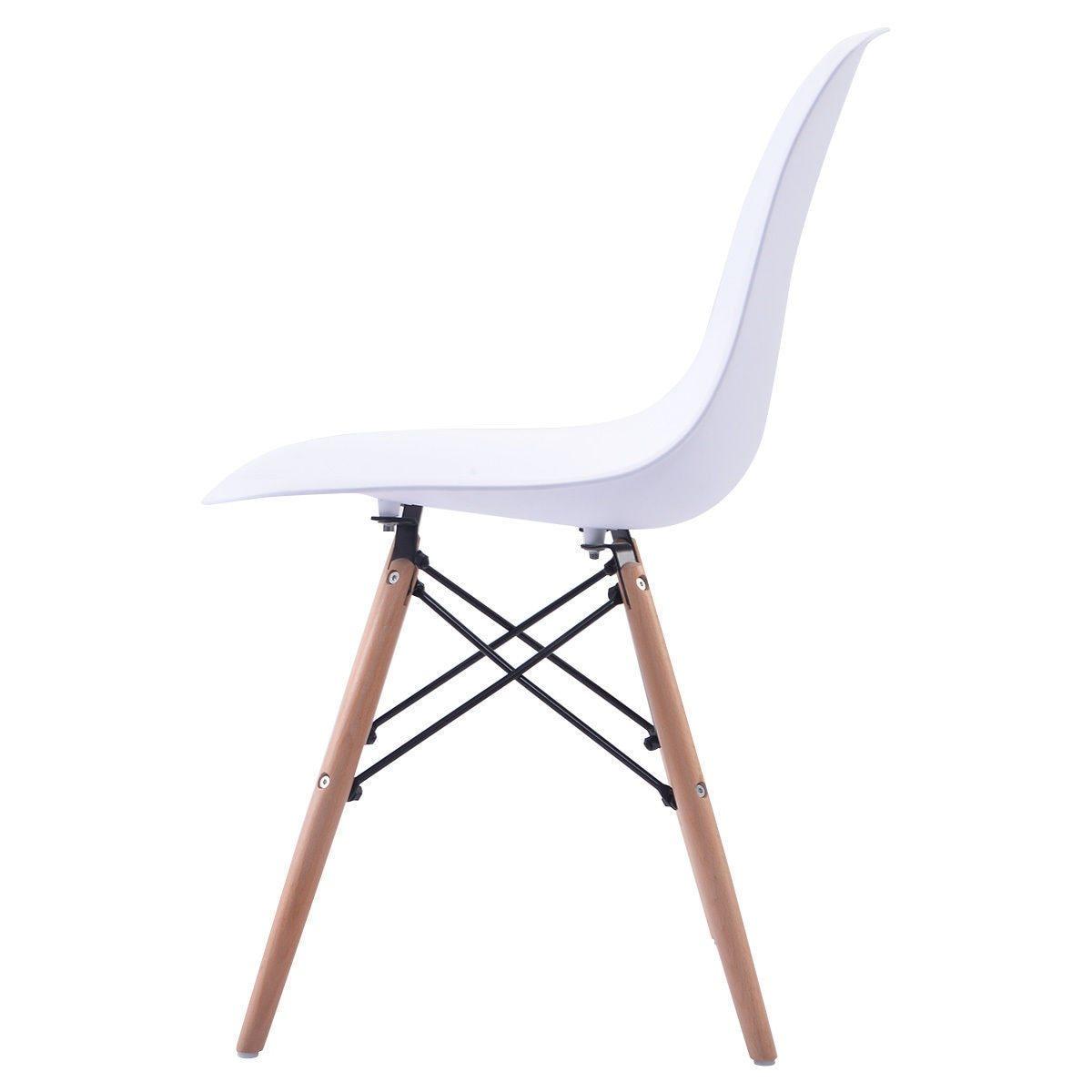 2 Piece White Modern Minimalist Dining Chairs