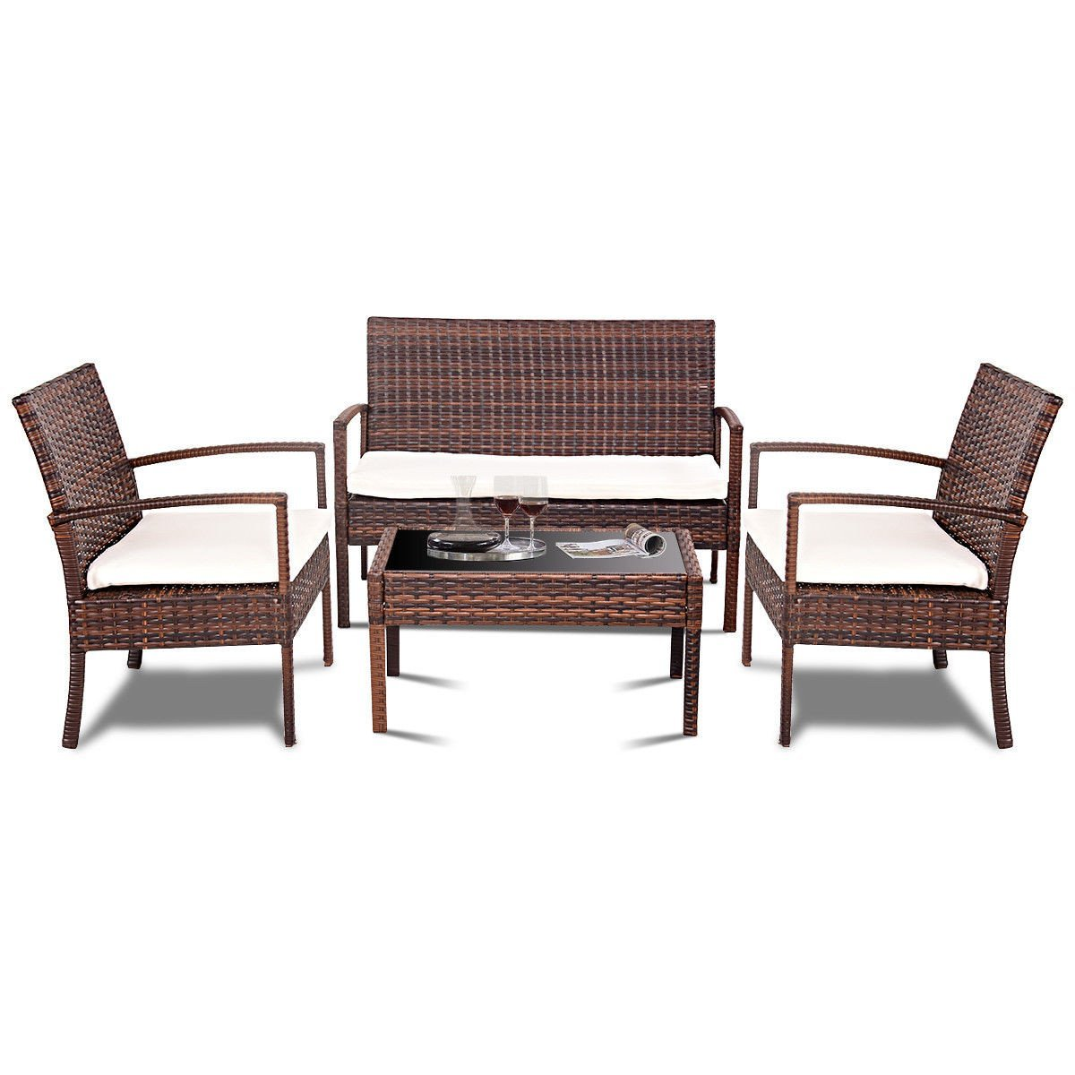 4 Piece Brown Rattan Wicker Patio Furniture Set