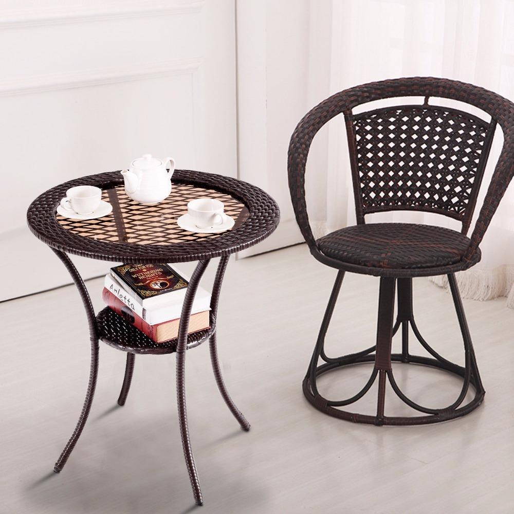 - Round Rattan Wicker Glass Top Steel Frame Coffee Table